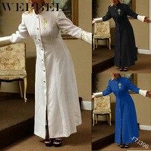 WEPBEL 여자의 기독교 크로스 드레스 가을 패션 높은 허리 솔리드 컬러 싱글 스탠드 칼라 드레스