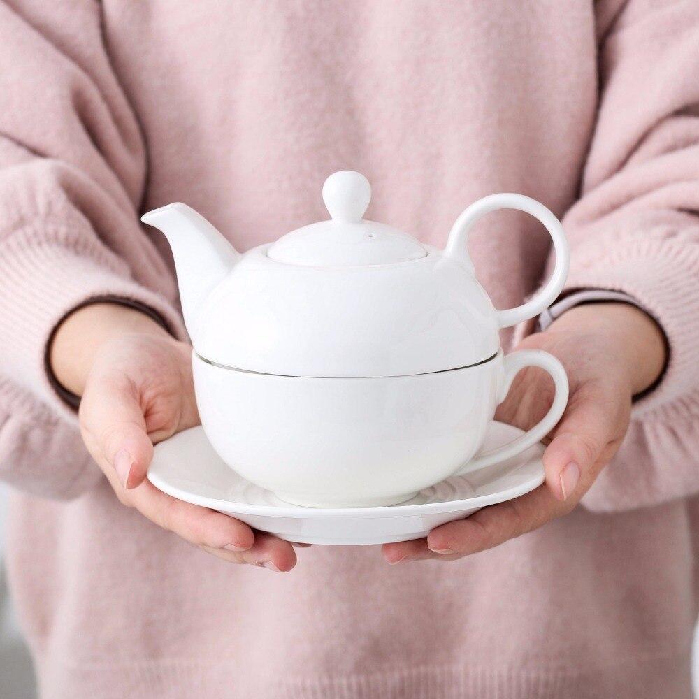 Serie MALACASA, té dulce de 4 piezas para un juego, porcelana blanca crema con tetera (con tapa), taza y platillo