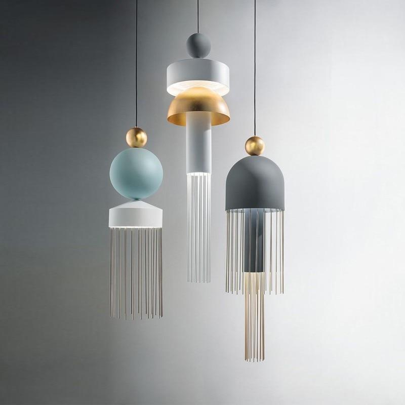 Lámpara de borla creativa de estilo nórdico para restaurante, Bar, dormitorio, mesita de noche, lámpara colgante de cristal LED para comedor