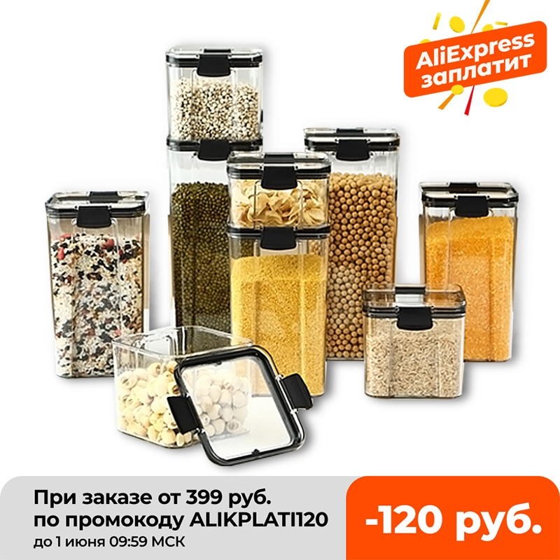 aliexpress.com - 700/1300/1800ML Food Storage Container Plastic Kitchen Refrigerator Noodle Box Multigrain Storage Tank Transparent Sealed Cans
