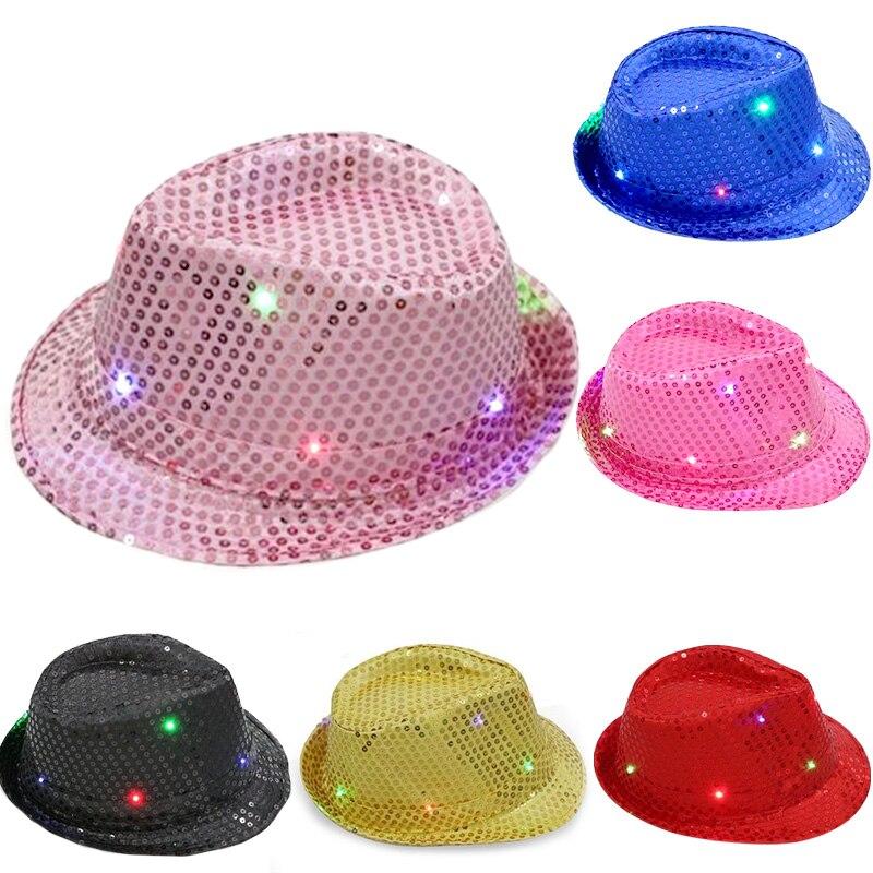 Niños adultos brillantes LED parpadeantes lentejuelas Jazz sombreros Fedora sombrero gorra cumpleaños fiesta baile boda decoración Halloween
