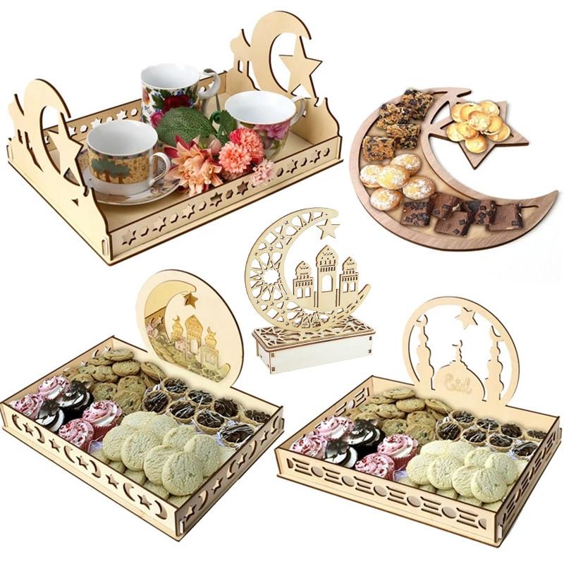 Wooden Eid Mubarak Decoration for Home Islamic Ramadan Kareem Muslim Party Decor Eid Food Tray Ramadan Mubarak Gifts Eid Al Adha