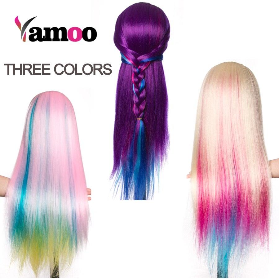 Cabeza de muñecas para peluches Ombre pelo sintético peinados para cabeza de maniquí femenino peluquería estilismo cabeza de entrenamiento