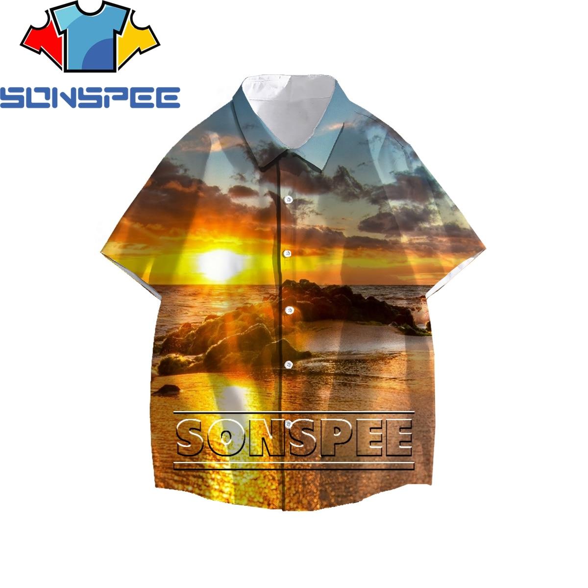SONSPEE Beautiful Sunset Beach 3D Print Men Womens Shirt Summer Original Personality Casual Hawaiian Loose Buttons Top