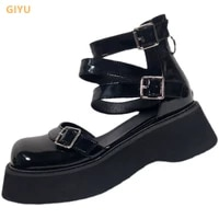 2021 summer new retro mary jane shoes woman cross straps platform small leather shoes sandals chic college style single shoes