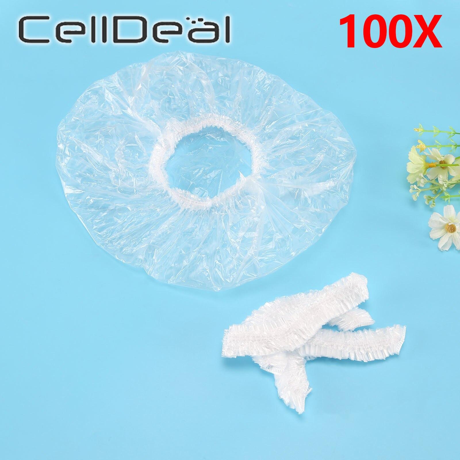100pcs/lot Disposable Shower Caps Hat Clear Spa Hair Salon Hotel One-Off Bathing Elastic Shower Cap Bathroom Products Bath Caps