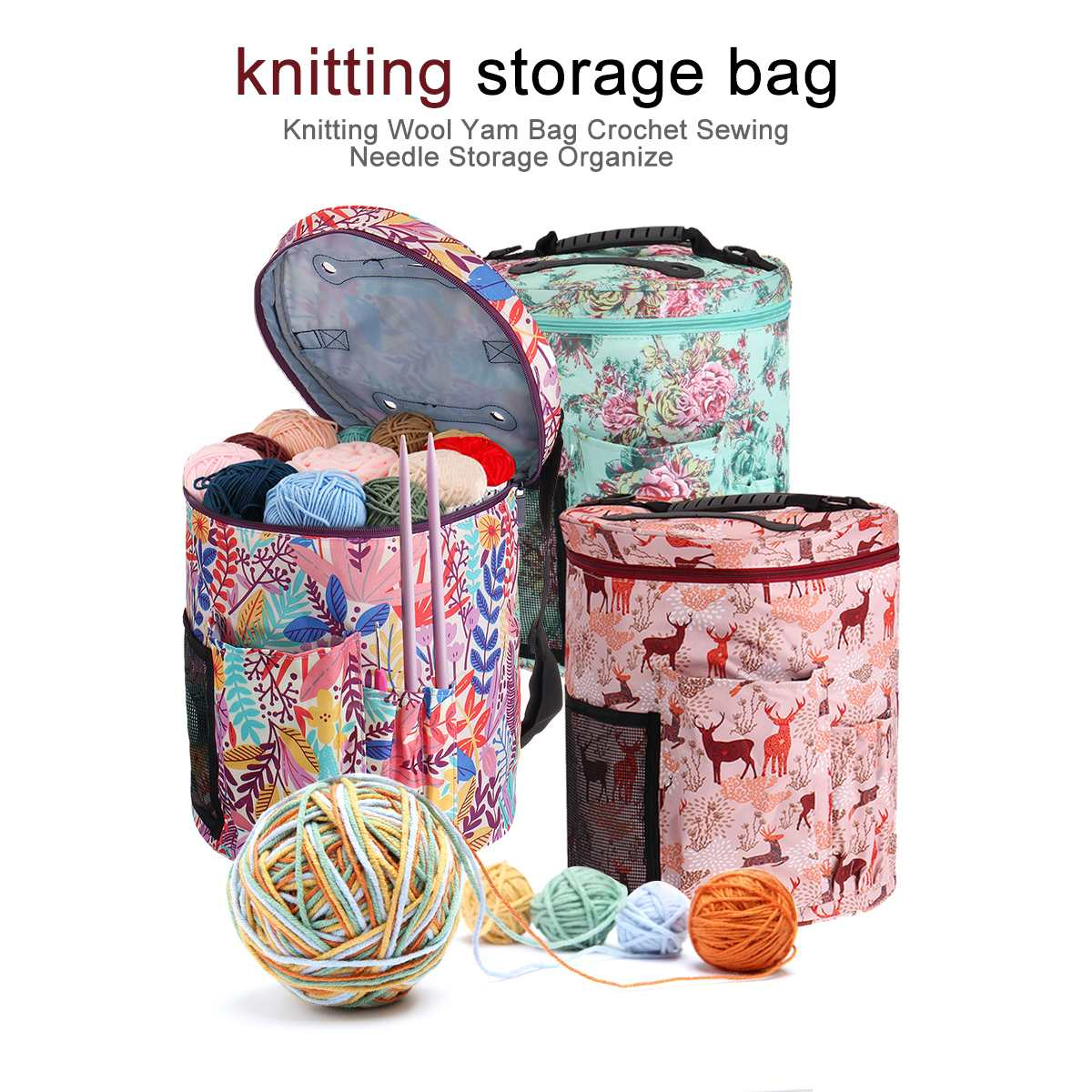 Yarn Tote Storage Bag Round Knitted Wool Bags Travel Organize Storage Bag Sewing Tools Accessories 2020 DIY Household Organizer