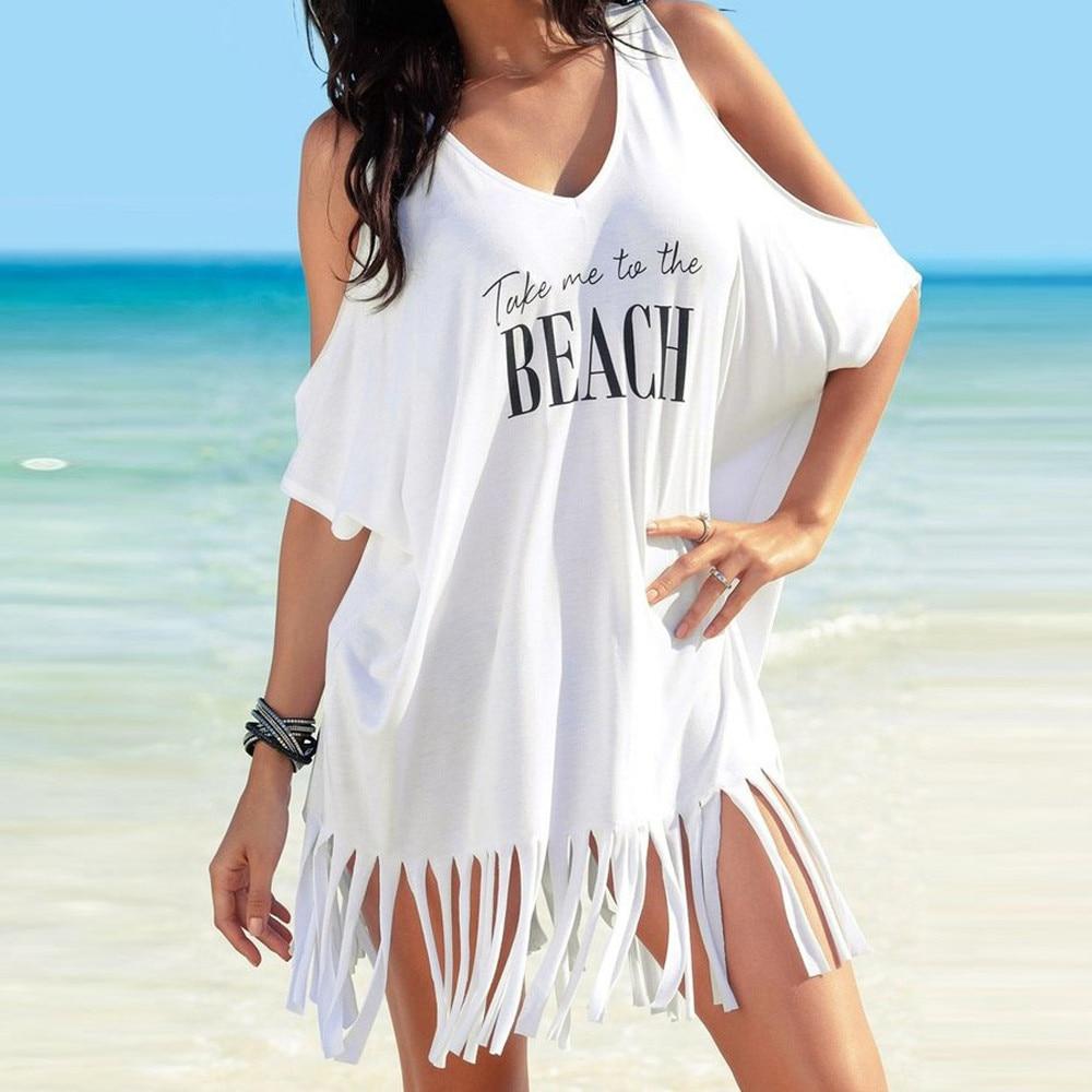 Swimwear Women Tassel Letters Print Baggy Swimsuit Bikini Cover Ups Beach Dress Loose Bathing Suit Cover Up купальник женский Y4