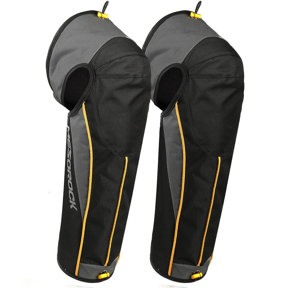 Warm Knee Pad Unisex Black Leather Leg Warmer Protector Motorcycle kneepad Half Chaps Leggings Covers Adjustable Strap Windproof