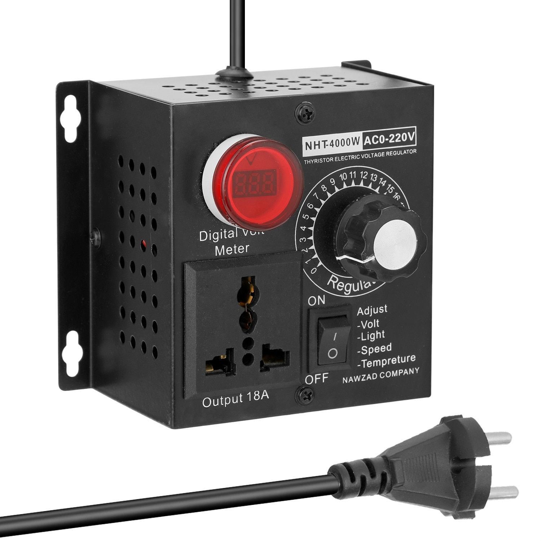 Maquinaria reguladora de voltaje electrónica de silicona de alta potencia de 4000W controlador eléctrico de velocidad Variable AC 0 V-220 V