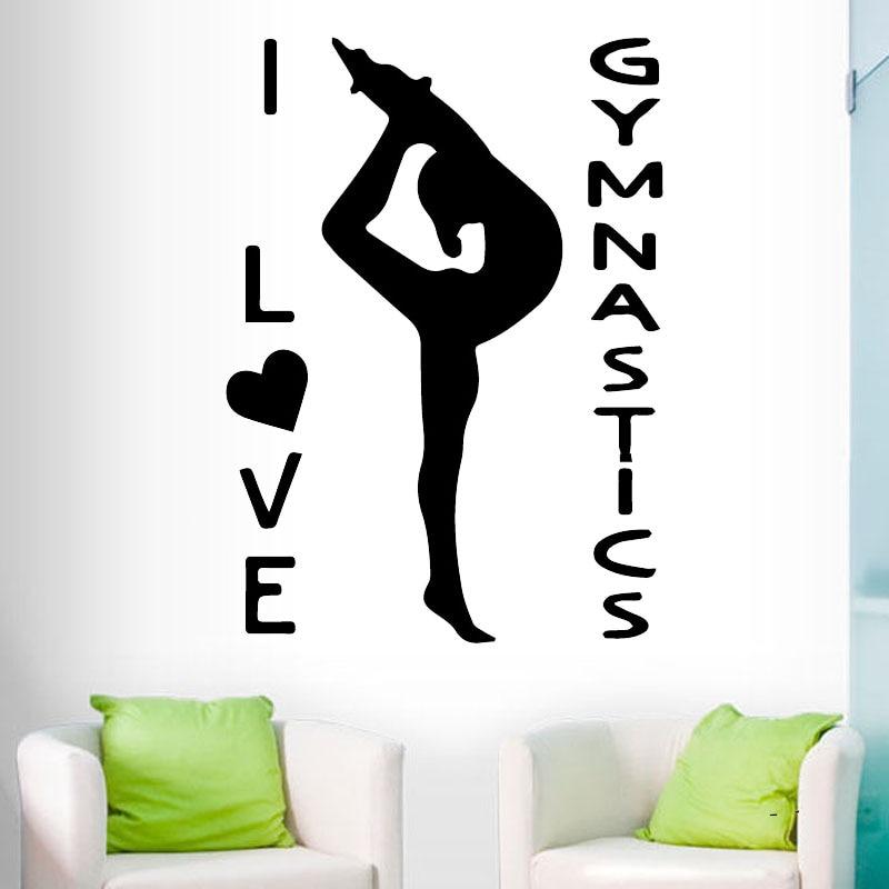 Pegatinas de pared de niña para gimnasia, murales de Arte de vinilo, calcomanías de pared para chicas, decoración de habitación, deporte, decoración del hogar, papel tapiz autoadhesivo