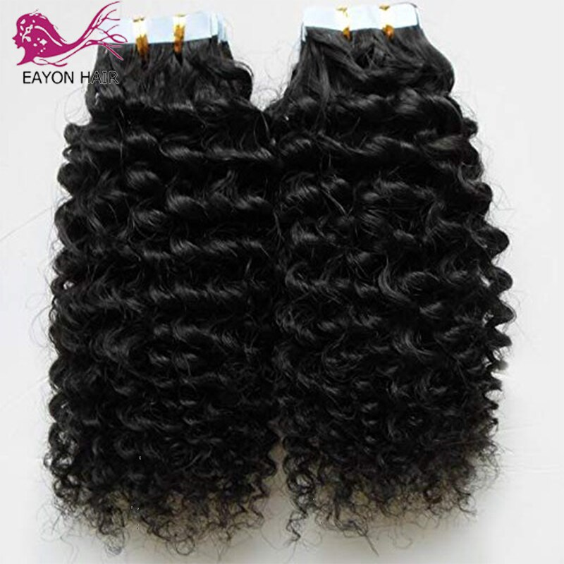 Brazilian Deep Curly Tape in Human Hair Extensions for Women Machine Made Curly Hair Extensions Remy Hair Glue on 100g 40pcs