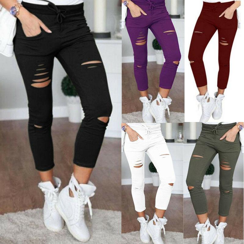 2018 venda quente mulheres magro rasgado buracos leggings casual buraco calças de brim leggings cintura alta estiramento magro lápis