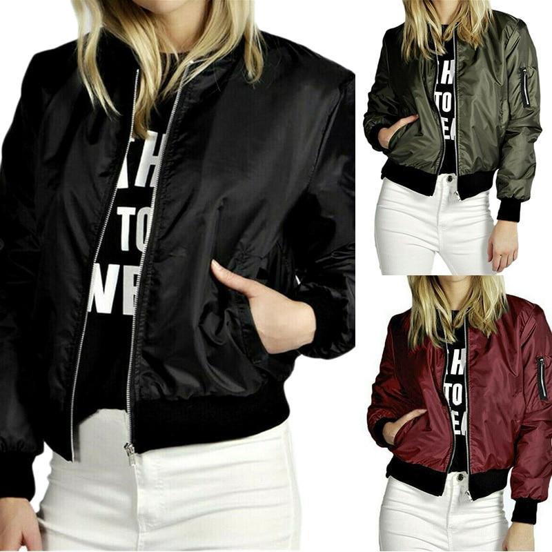 Women's Fashion Jackets Ladies Thin Long Sleeve Basic Windproof Jacket Women Zipper Stand Collar Coa