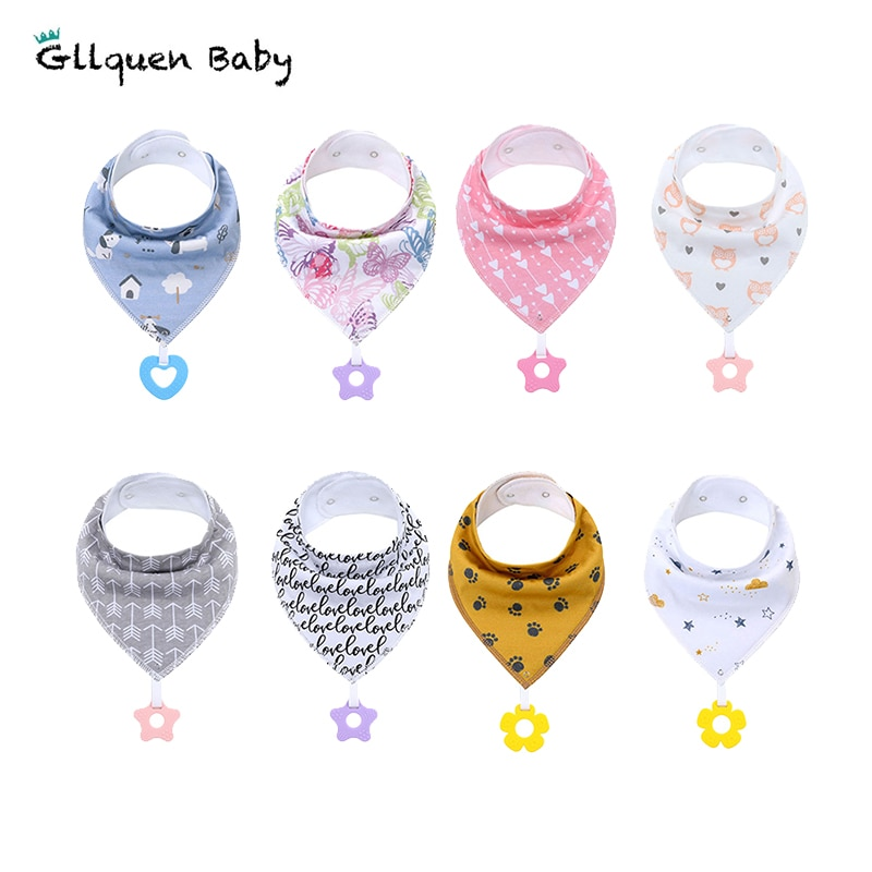 Baby Bandana Drool Bibs Absorbent Soft 100% Organic Cotton Teething Toys Baby Bibs for Infant Feeding tool Baby Shower Gift baby bandana bibs with teething toys 100% organic cotton bibs super absorbent drool bib with teether for boys