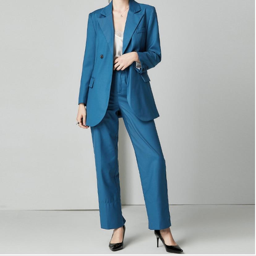 Blau Hosen Anzüge Elegante Frauen Business Anzüge Damen Blazer Set Khaki Silk Zwei Stück Set Frauen Anzüge Blazer mit Hosen herbst