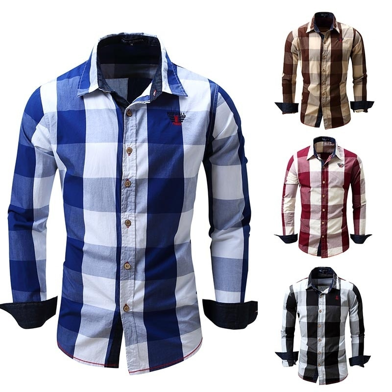 ZOGAA Cotton Mens Plaid Shirts High Quality Long Sleeved Button-down Neck Blouse Soft Clothes Fashion Men Casual Dress Shirt
