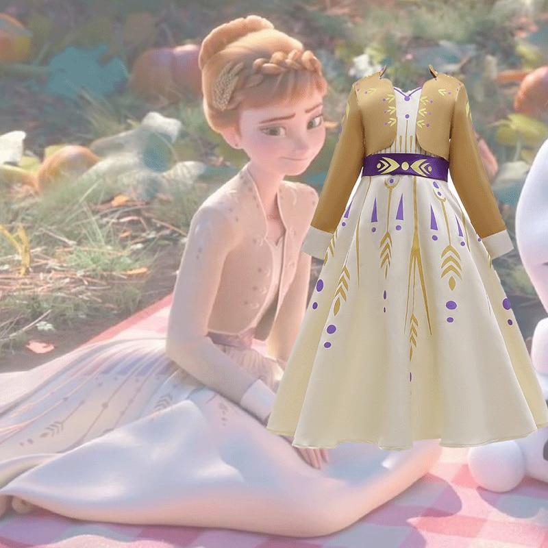 2019 Navidad Frozen 2 Queen Anna vestido Cosplay disfraces para chico niñas fiesta princesa Vestidos ropa infantil vestido 3-12 años toddler dresses