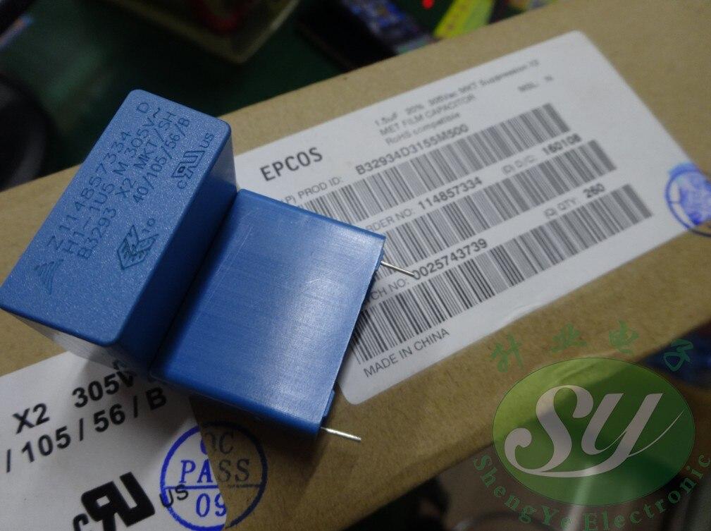 10PCS NEW EPCOS B32934D3155M 1.5UF 305VAC PCM27.5 film capacitor B32934 155/305VAC p27.5mm MKP 1.5uf/305vAC 1u5 155