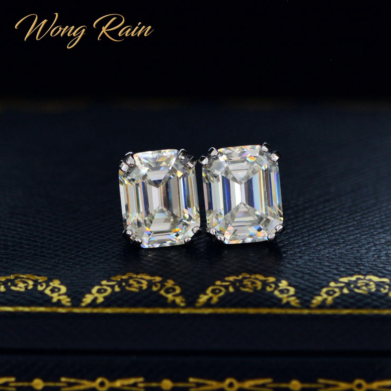 Wong Rain-أقراط من الفضة الإسترليني عيار 925 مرصعة بأحجار المويسانتي والماس والأقراط والمجوهرات الراقية لحفلات الزفاف بالجملة