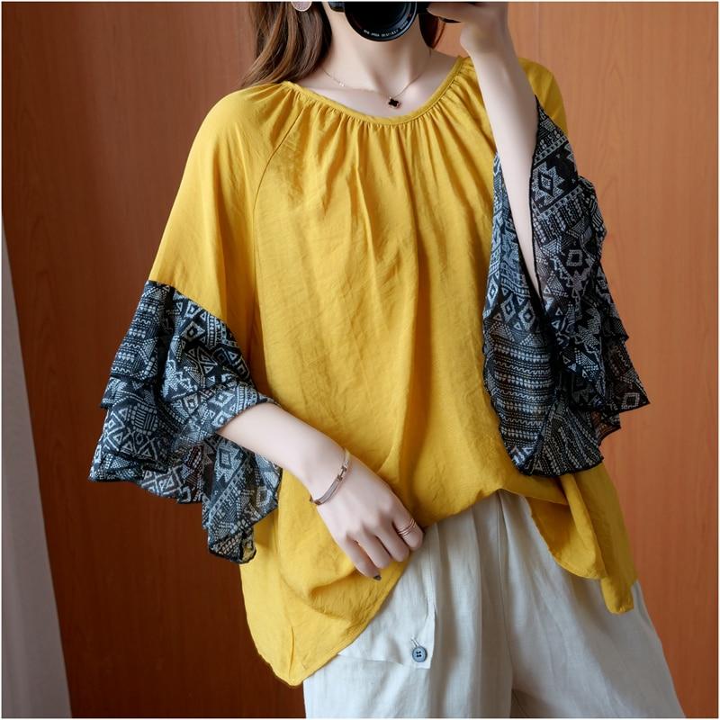 [EWQ] camisas de talla grande para mujer, blusas elegantes para mujer, suelta túnica, ropa informal para mujer, estampado empalmado, manga de mariposa 3AJ397