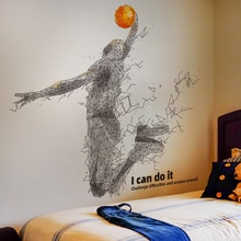 [SHIJUEHEZI] jouer au basket-Ball autocollant mural créatif joueur de balle sport stickers muraux pour salon enfants chambre maison décoration