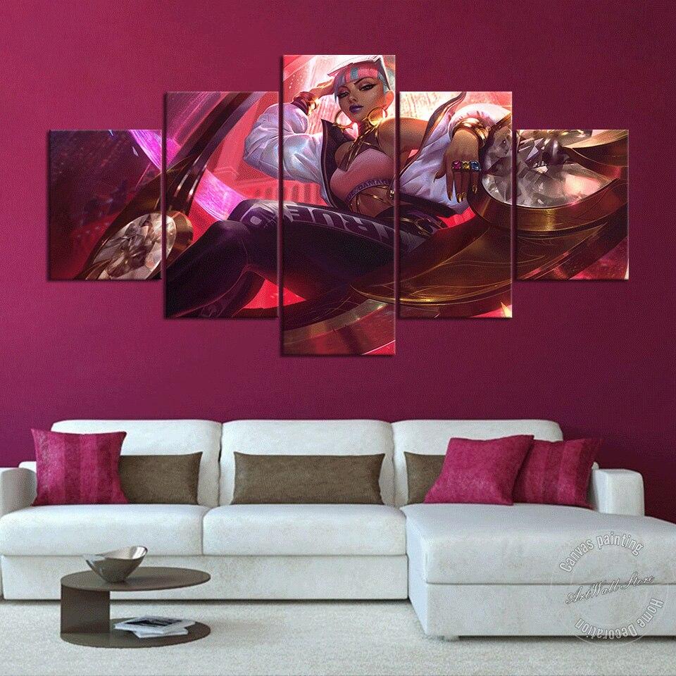 Lienzos de la Liga de Leyendas Qiyana pintura LOL Emperatriz de los elementos póster de videojuegos cuadros de pared para sala de juegos Decoración de pared