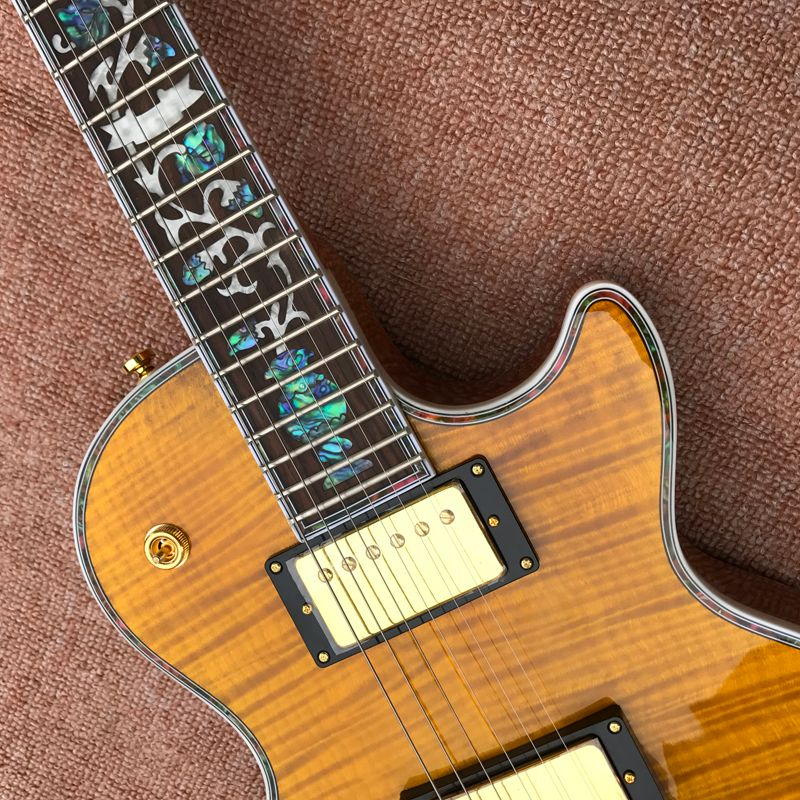 Guitar  Exclusive Quality, Tiger Flame Maple Top, Abalone Inlaid Fingerboard, Free Delivery enlarge
