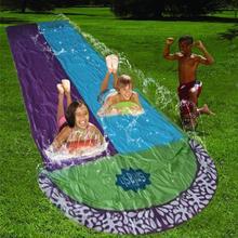 Double glissière deau de jardin, 4.8M, surf, toboggan à eau pour enfants, jeux de piscine, jardin, jardin, extérieur, jouets amusants