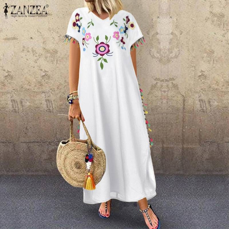 2020 verano Floral impreso Split Sundress ZANZEA moda Tassel vestido de fiesta mujeres manga corta Vestidos largos túnica femenina