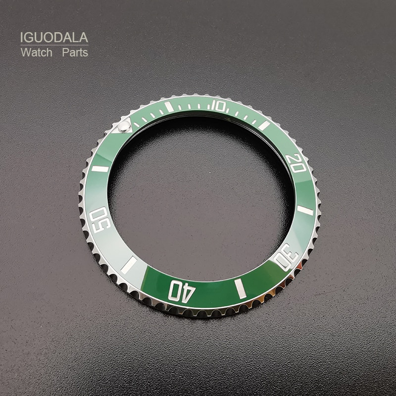 Ceramic Watch Bezels With Steel Insert For RLX Rolex Submariner 116610, Green/Black, Blue Luminous, Watch Parts