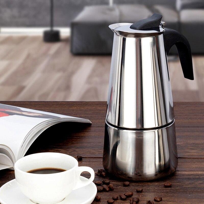 Pote de café aço inoxidável chaleira italiana cafeteira espresso garrafa 100/200/300/450 ml barista pot transporte da gota