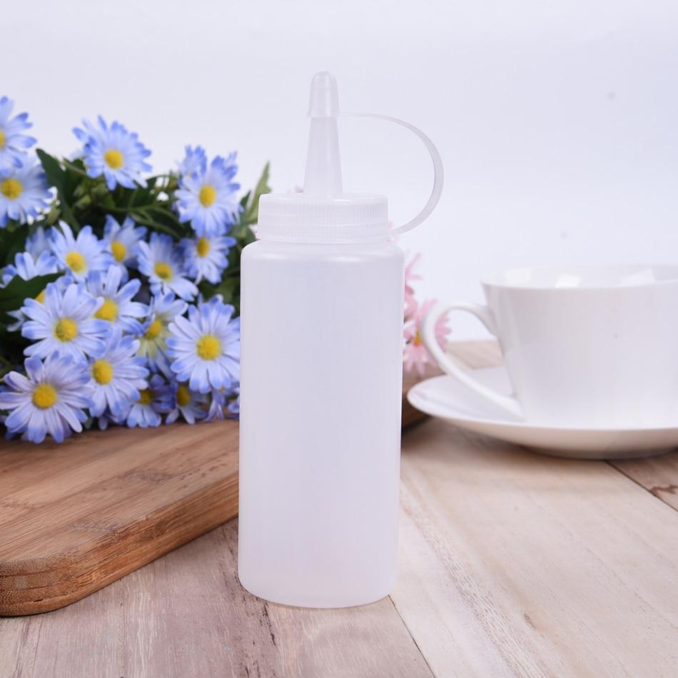 Plastic Squeeze Bottle Condiment Dispenser Sauce Vinegar Oil Ketchup Cruet White Capacity Kitchen Essential Tools