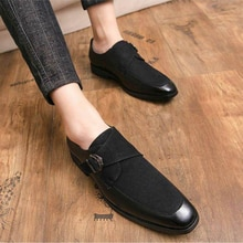 Men's Handmade Black PU Stitching Suede Metal Single Buckle Monk Shoes Retro Classic Fashion All-mat
