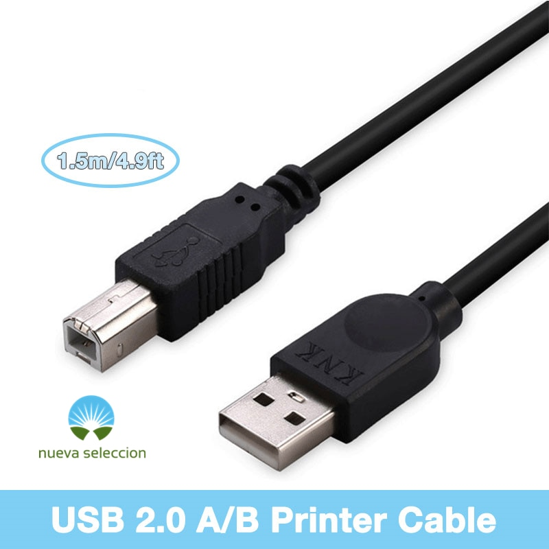 1.5m Printer Cable USB 2.0 Type A to B Male to Male Square Interface for Canon Epson HP ZJiang Brother Zebra Label Printer DAC
