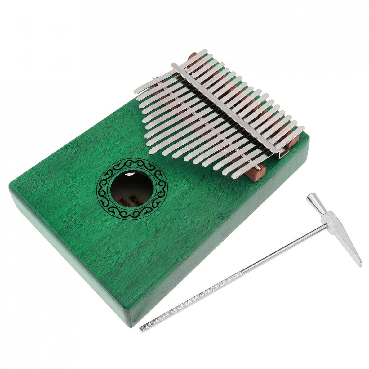 Thumb Piano 17 Key Green Kalimba Single Board Mahogany Thumb Piano Mbira Mini Keyboard Instrument with Complete Accessories enlarge