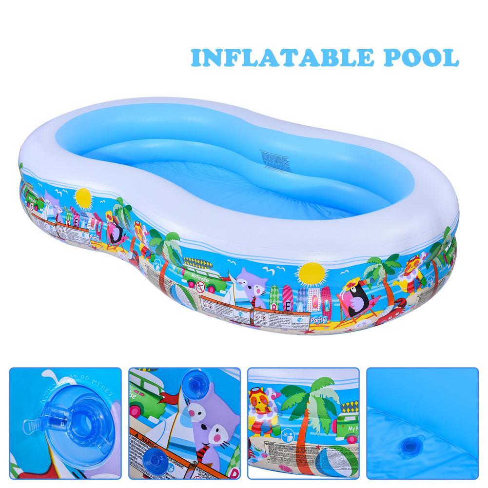 فريد أطفال تجديف بركة المنزلية حمام سباحة قابل للنفخ مع 466 لتر سعة تخزين المياه مزدوجة الهواء غرفة صمام