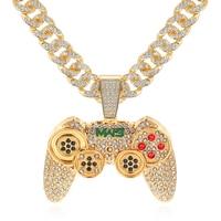 Кубинское Ожерелье Стразы, цепочка со сверкающими звеньями, ожерелье с подвеской в виде ручки игрового контроллера для женщин и мужчин, юве...