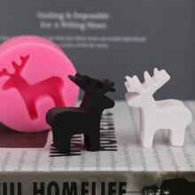 Molde de silicona de ciervo navideño para aromaterapia, molde de silicona para coche, decoración de pasteles, Fondant, herramientas de Sugarcraft