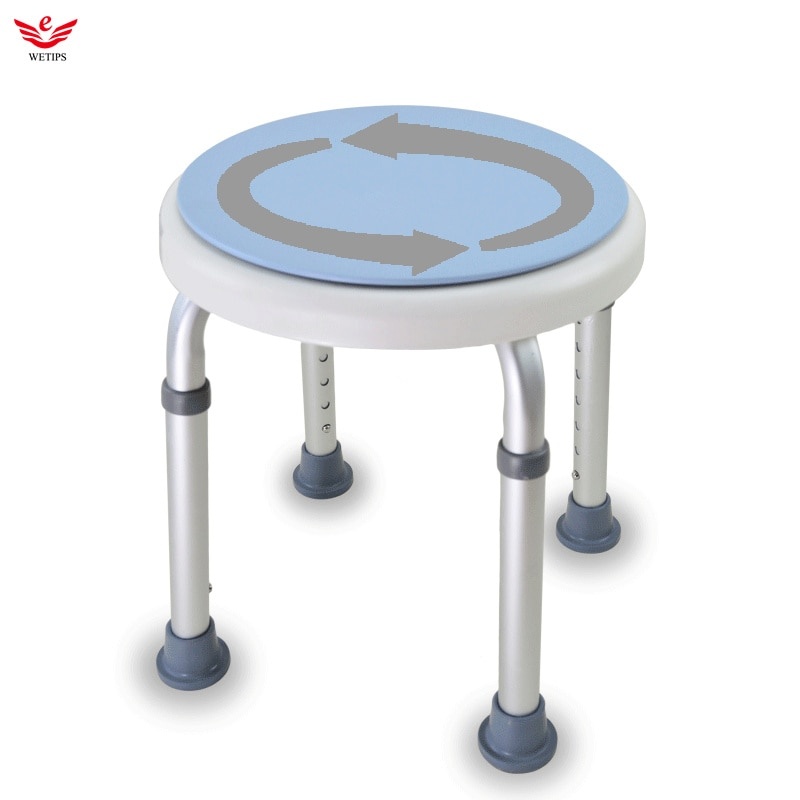 WETIPS Rotatable Bath Stool Anti-Slip Pad Adjustable 7 Level Height Chair Elderly Shower Chair Disabled Person Bathing Benches