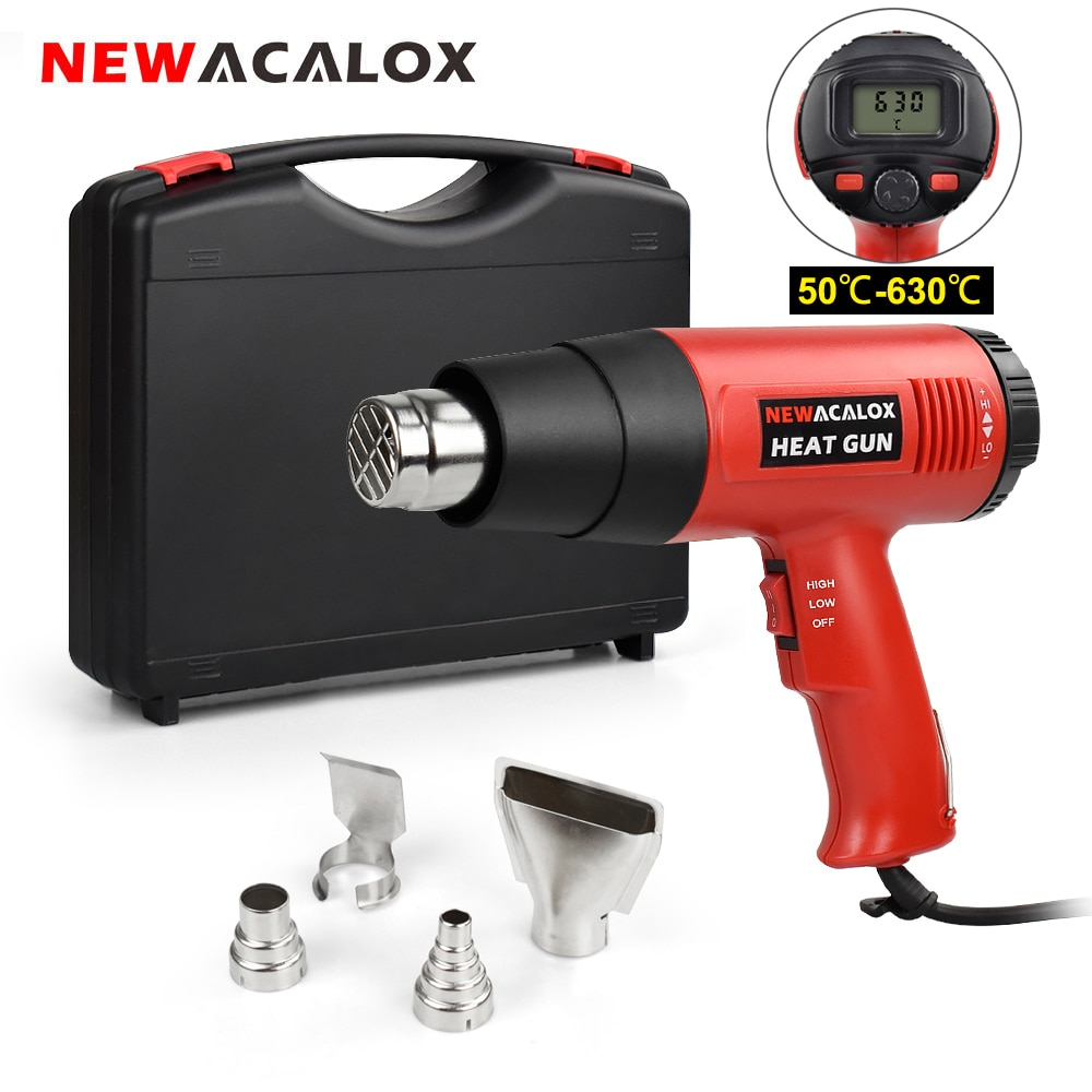 220v 2000w hot air gun powerful mini hand tools lcd temp adjustable heat gun 2 nozzles for soldering and welding tgk 8920e NEWACALOX 220V LCD Heat Gun 2000W Heavy Duty Hot Air Gun Kit Variable Temperature Control with 4 Nozzles for Craft Shrinking PVC