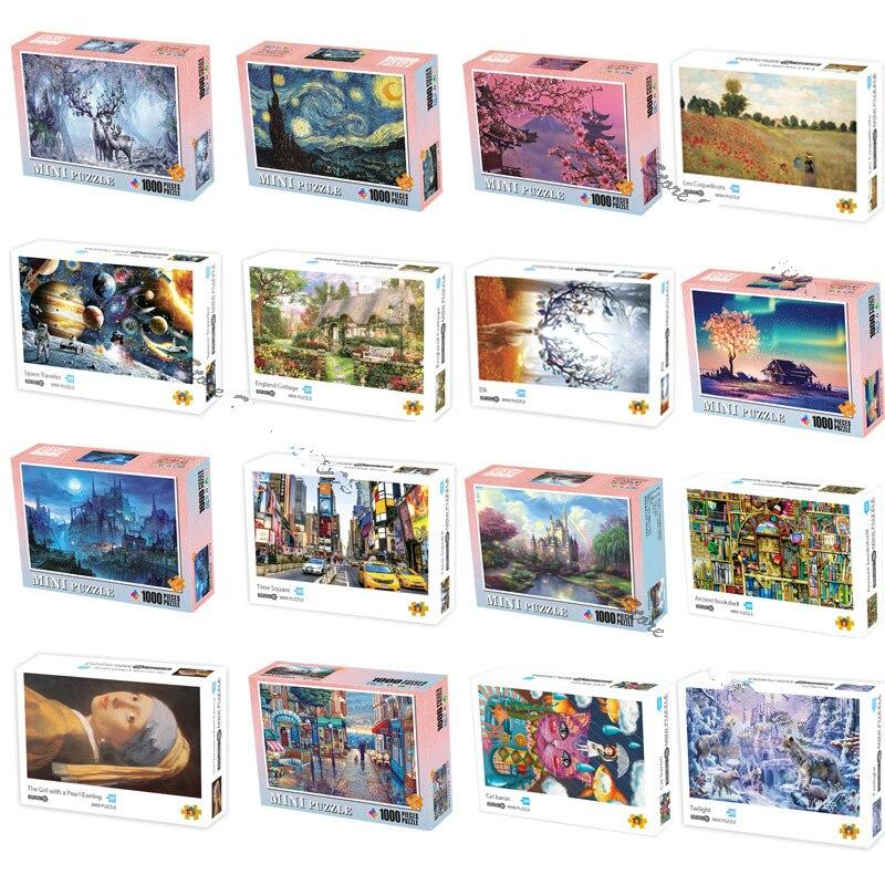 Пазлы, мини-пазлы, 1000 шт., деревянные сборочные картины, ландшафтные Обучающие игрушки-пазлы для взрослых и детей