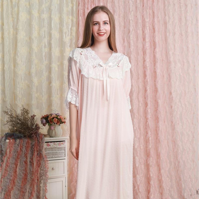 Camisola Das Mulheres Vestido de Princesa Nightgowns Sleepshirts Camisola de Algodão Cor De Rosa Romântico Do Vintage Camisola Salão Sleepwear