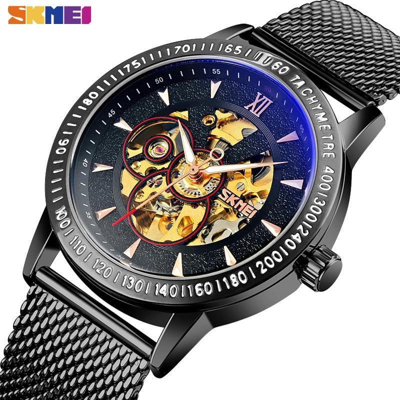 2021 Relogio Masculino SKMEI Luxury Automatic Watch Men Mechanical Watches Mens Creative Hollow Dial Luminous Pointer Waterproof