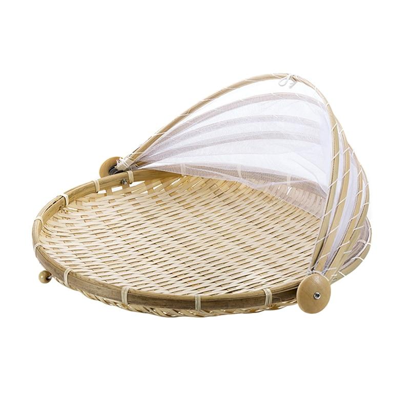 Oferta, 1 cesta tejida a mano a prueba de insectos, cesta de Picnic a prueba de polvo, cesta de mimbre hecha a mano para fruta, vegetales, pan, cesta con gasa