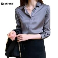 cashiona 2021 spring autumn new blouse women elegant leisure shirt long sleeve clothing kpop style blusas shirt ropa mujer femme