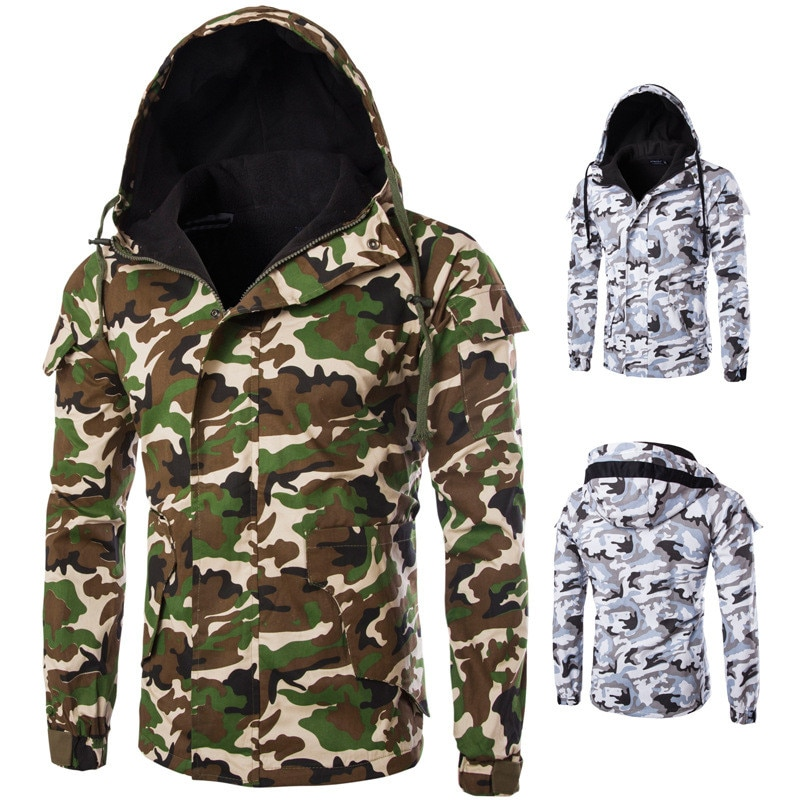 Mens Casual Camouflage Hoodie Jacket 2019 New Autumn Camouflage Print Clothes Men's Hooded Windbreaker Coat Male Outwear Jacket camouflage print zip up jacket
