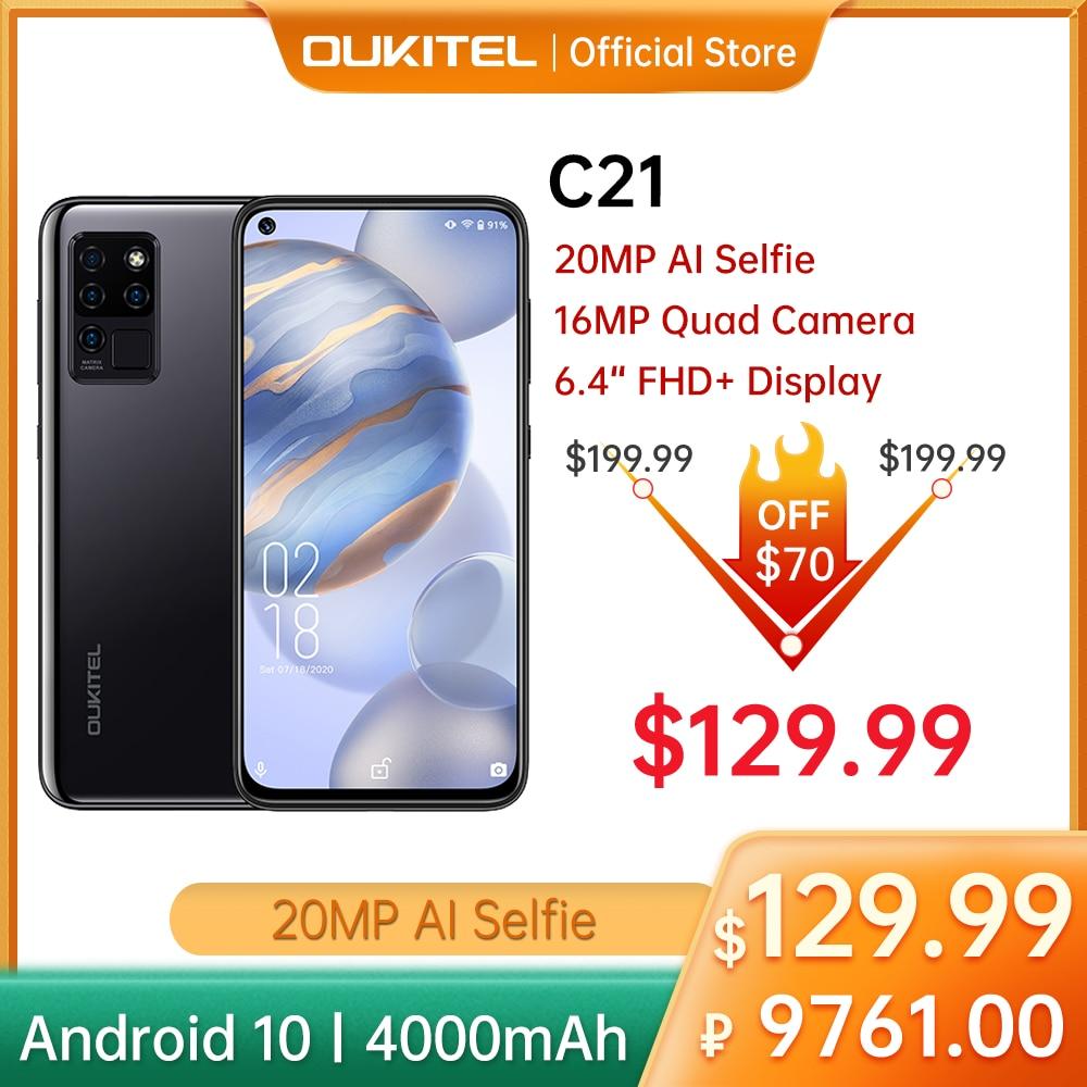 OUKITEL 4G C21 Smartphone 4G+64GB Octa Core 4000mAh Helio P60 6.4'' FHD+ Hole Punch Screen Celular 20MP Quad Camera Selfie Phone