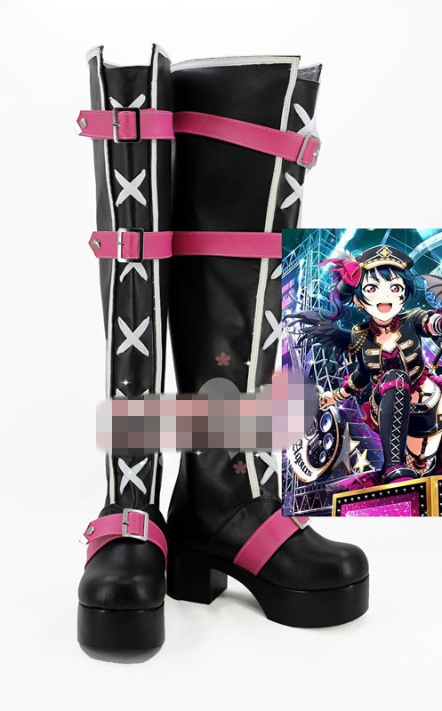 Anime Cosplay zapato amor Sol en vivo aqoors tsuhima Yoshiko Punk Rock zapatos mujeres botas A la rodilla