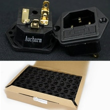 Aucharm Full Copper AC HIFI Gold-plated Copper Audio IEC Power Socket Fuse Seat